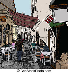 Typical small street in Greece - Vector illustration of a...