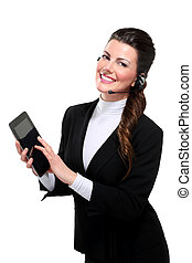 Young beautiful happy business woman with tablet