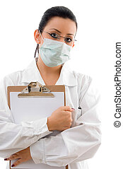 front view of doctor holding writing pad on white background