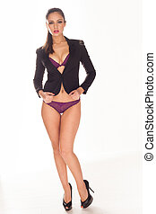 Sexy woman in purple lingerie covering her body with black...