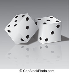 Vector illustration of two white dice