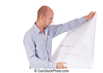young adult businessman architect with blueprint