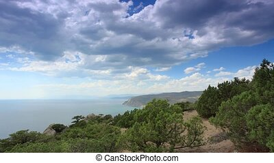 Cloudy sky over the mountains and the sea. Noviy Svet,...