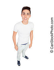 Funny top view of a casual boy isolated on white background