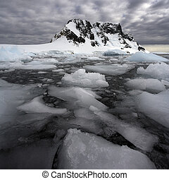 Antarctica - Sea ice in the Lamaire Channel on the Antarctic...