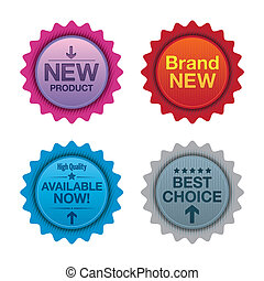 Product promotion badges.