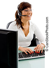 front view of smiling female customer care on an isolated...