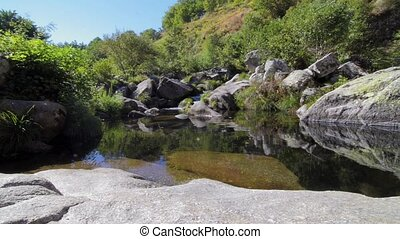 Cabrum river in Resende Portugal. Slide movement from bottom...
