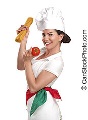 young woman chef showing ingredients for italian food on...