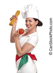 mujer, ingredientes, alimento, actuación, joven, Chef,...