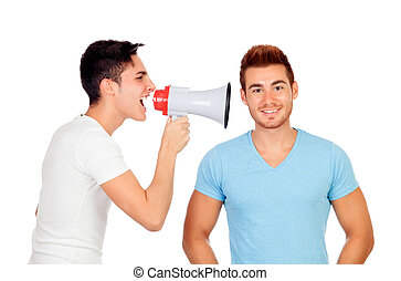 Young men screams to his friend through a megaphone isolated...
