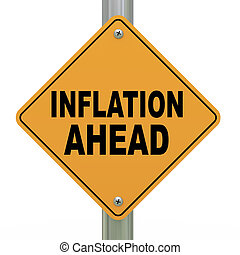 3d road sign inflation ahead - 3d illustration of yellow...
