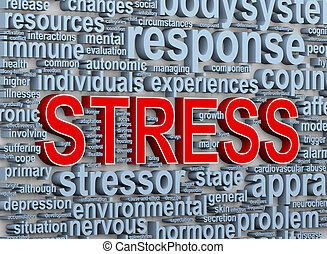 3d word tags of stress - 3d Illustration of wordcloud word...