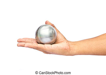 Man and petanque ball in hand on white background