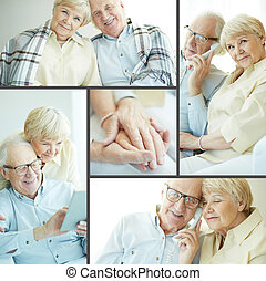Seniors at home - Collage of senior couple sitting at home