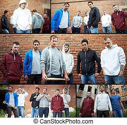 Group of gangsters - Collage of street hooligans or rappers