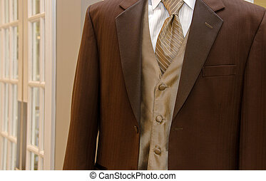 brown wedding tuxedo - Brown tuxedo with vest and silk...