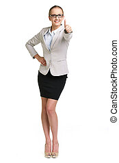 Satisfaction - Portrait of young businesswoman showing thumb...