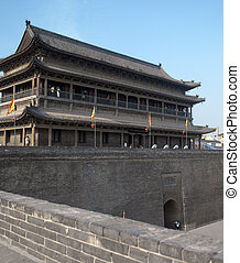 Xian - Shaanxi Province - China - City walls and fortress in...