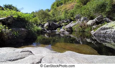 Cabrum river in Resende Portugal Slide movement from bottom...