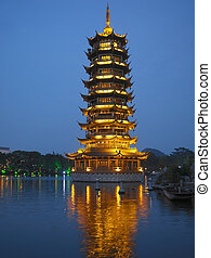 Guilin - China - Pagoda on Fir Lake in the city of Guilin in...