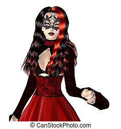 Gothic woman in red dress - Digitally rendered illustration...
