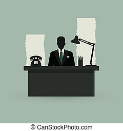 Office4 - The businessman behind a table at office. A vector...