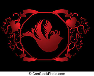 tattoo tribal birds frame vector art
