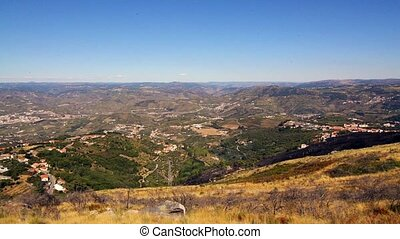 Terraced vineyards in Douro Valley - Pan move from left to...