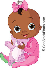 Cute baby girl with Teddy Bear - Illustration of Cute baby...