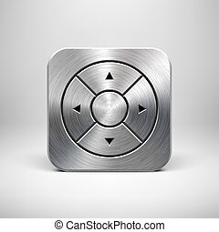 Technology App Icon Template with Metal Texture - Abstract...