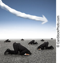 scared businessman hiding on the ground with business graph down concept