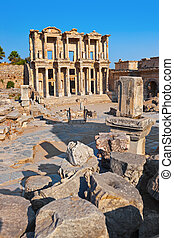 Ancient Celsius Library in Ephesus Turkey - Facade of...