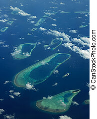 Aerial view of The Maldives - An aerial view of some of the...