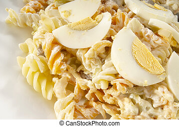 Pasta Salad - Pasta salad dish with eggs, mayonase, and...