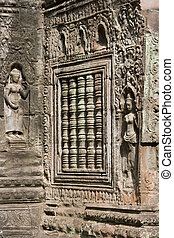 Ta Prohm - Angkor Wat - Cambodia - Carvings and sculpture in...