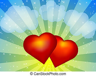 Red hearts - Illustration of red hearts on colorful...