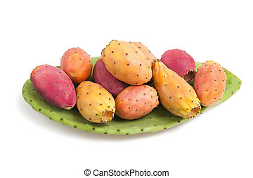 prickly pears with leaf  isolated on white