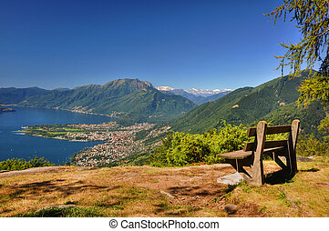 Panoramic view over an alpine lake with mountain