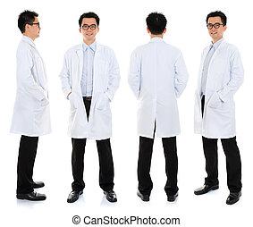 Asian male beauty therapist in beautician uniform - Full...