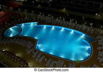 swiming pool night
