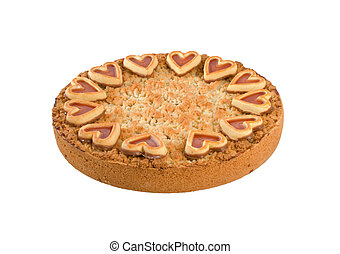 Apple Crumble Pie with pastry heart decorations over white...