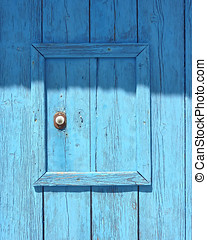 Fisherman's boat house door, blue background