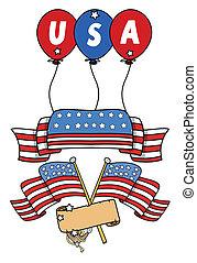 USA Flag Theme Banners Vector