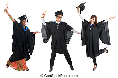 Multi races university student in graduation gown jumping -...