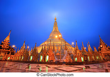 Shwedagon pagoda at twilight, Rangon,Myanmar