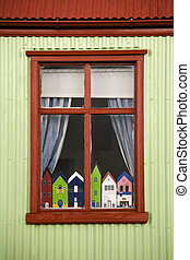 Icelandic cottage with Troll Houses in the window - Iceland...