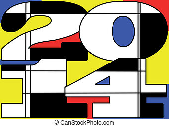 Mondrian 2014. New year icon. 10 EPS