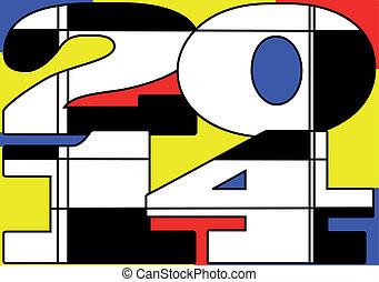 Mondrian 2014. New year icon. 10 EPS