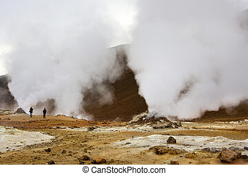 Namaskard Geo-Thermal Area - Iceland - Steaming fumarole at...